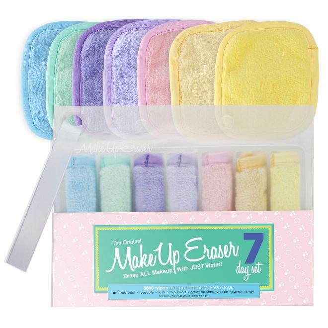 Set 7 Day Pastel, de Make Up Eraser (27 euros). Toallas veganas en tamaño mini que acaban hasta con la suciedad de los poros sin necesidad de usar un limpiador.