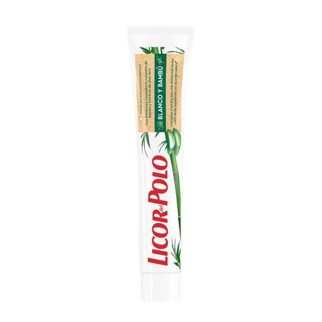 Dentífrico Blanco y Bambú, de Licor del Polo (1,59 euros). Con 90% de ingredientes de origen natural, incluye bambú y aloe vera para una limpieza respetuosa de dientes y encías.