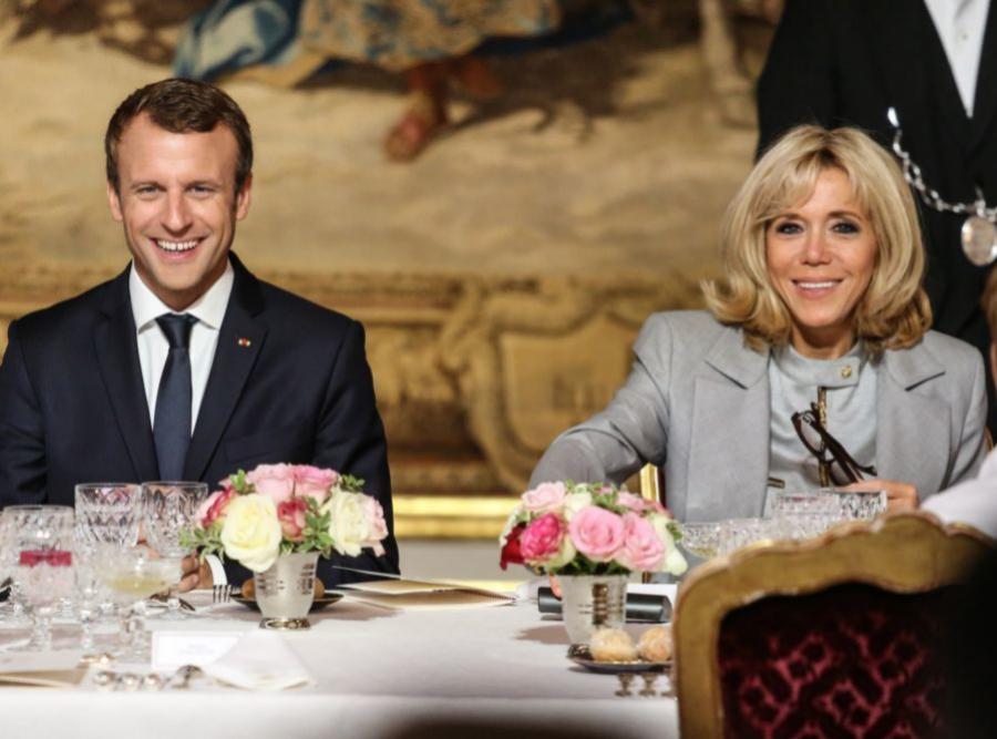 Los Macron en una comida en el Elíseo.