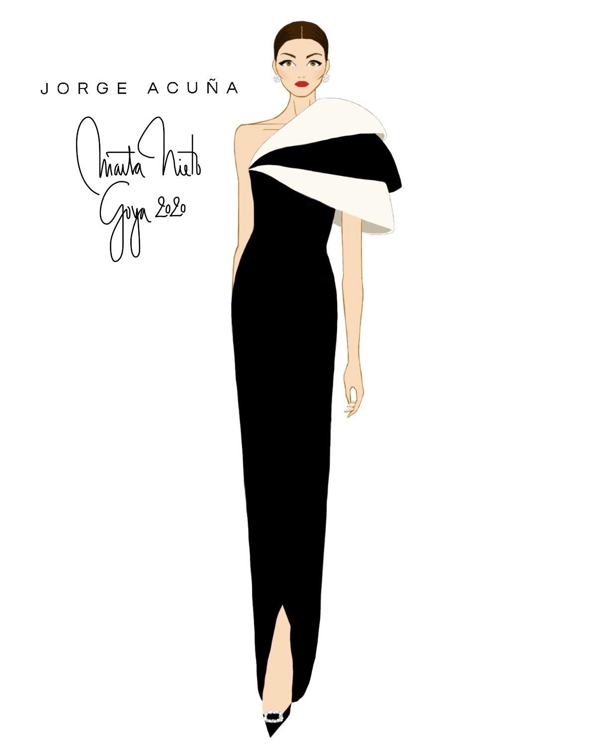 Boceto del diseño de Jorge Acuña para Marta Nieto en terciopelo...