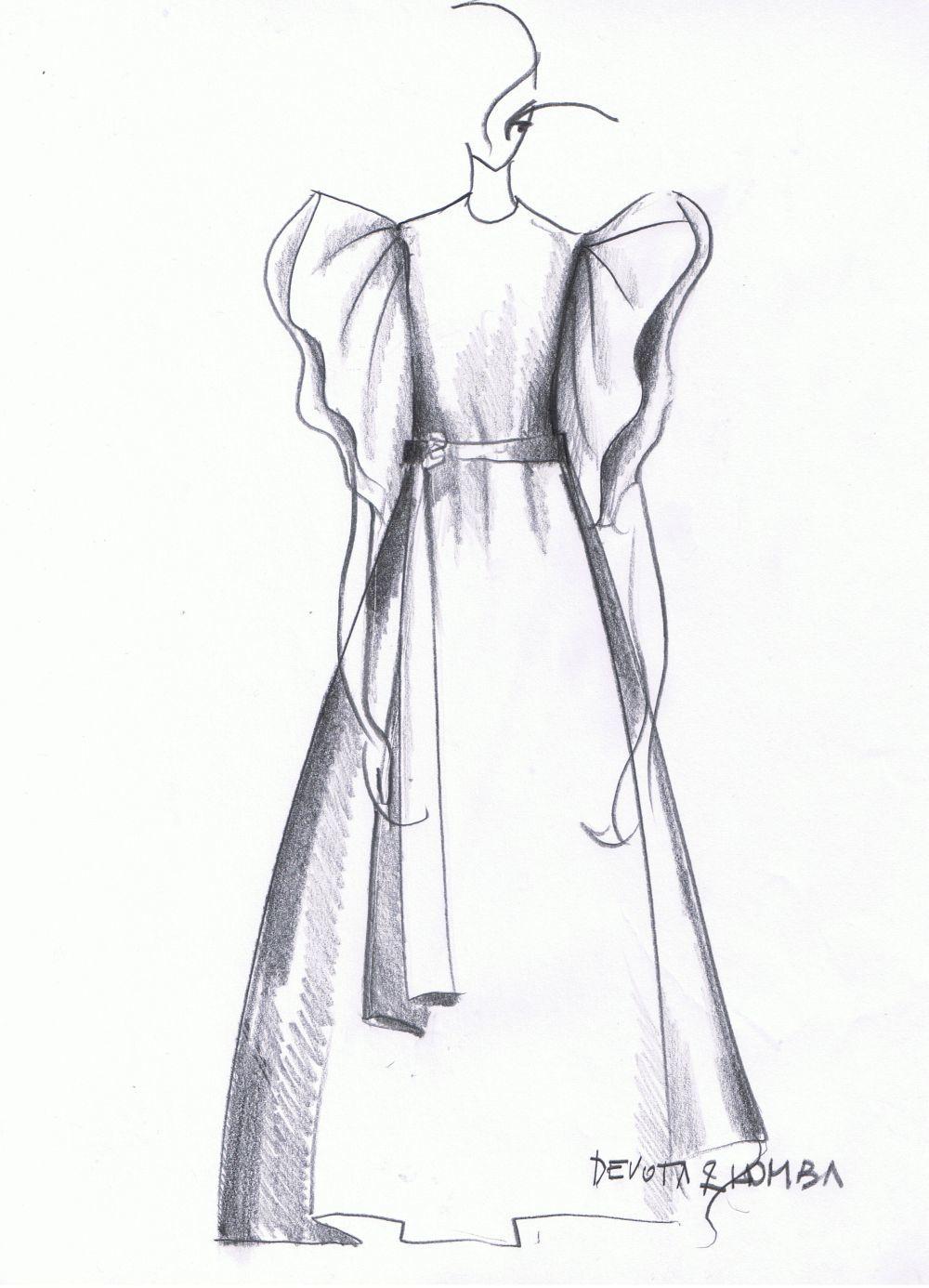 Boceto cedido por Modesto Lomba del look diseñado para Ángeles González-Sinde