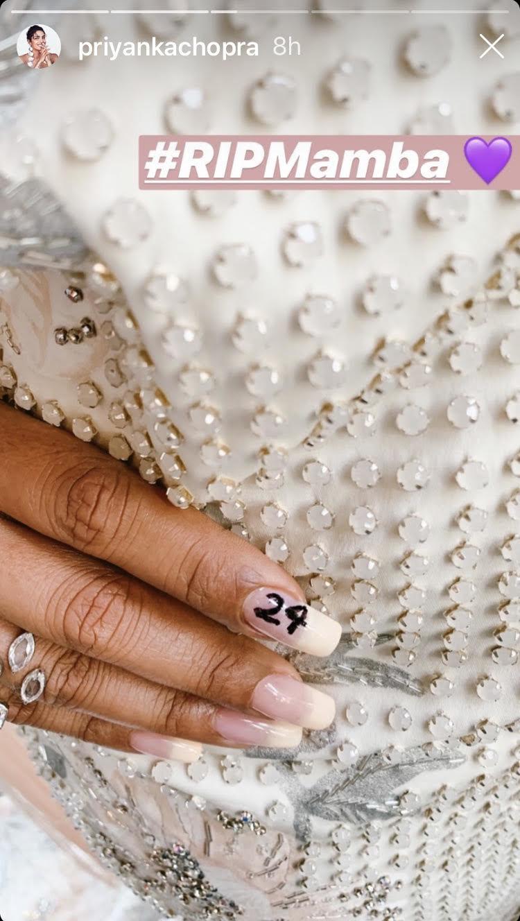 Story de Priyanka Chopra mostrando el detalle de su uña en homenaje a Kobe Bryant