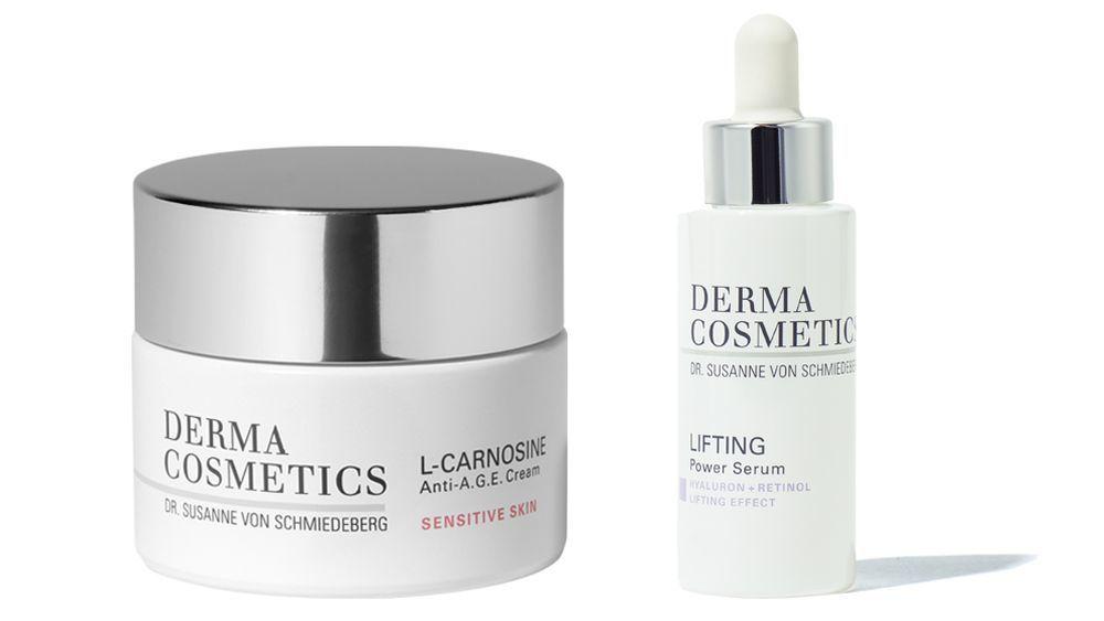 Crema L-Carnosine Anti A.G.E para pieles sensibles (79,99 euros) y Sérum Lifting Power con retinol y ácido hialurónico (69,99 euros) de Dermacosmetics.