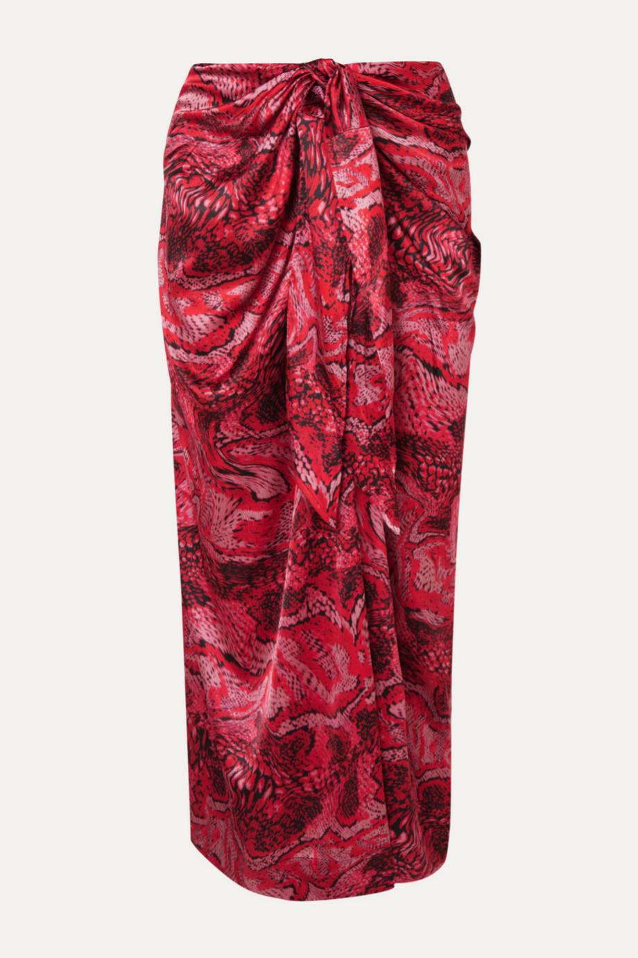 Falda tipo pareo estampada de colores de Ganni (99¤)