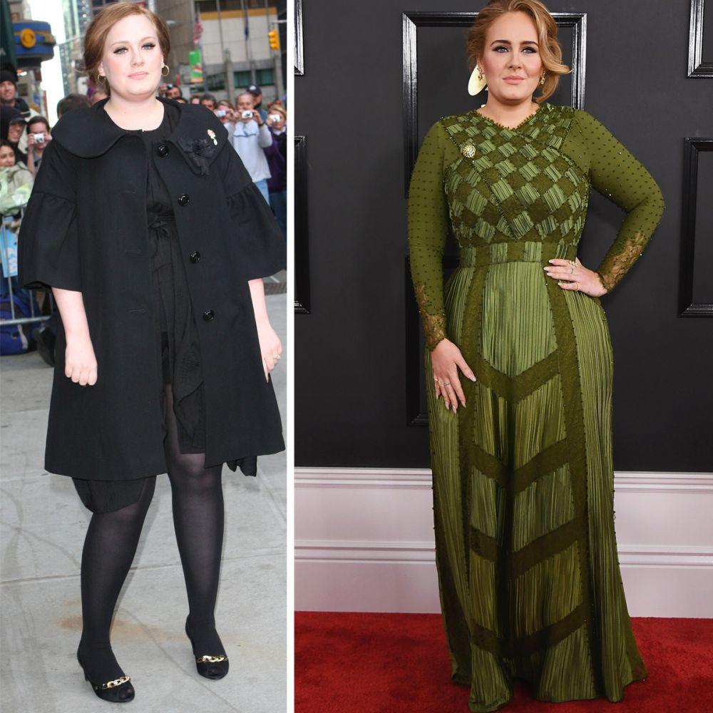 Adele a la izquierda en una foto de 2009 y a la derecha en los Premios Grammy de 2017, donde ya se advierte su pérdida de peso.