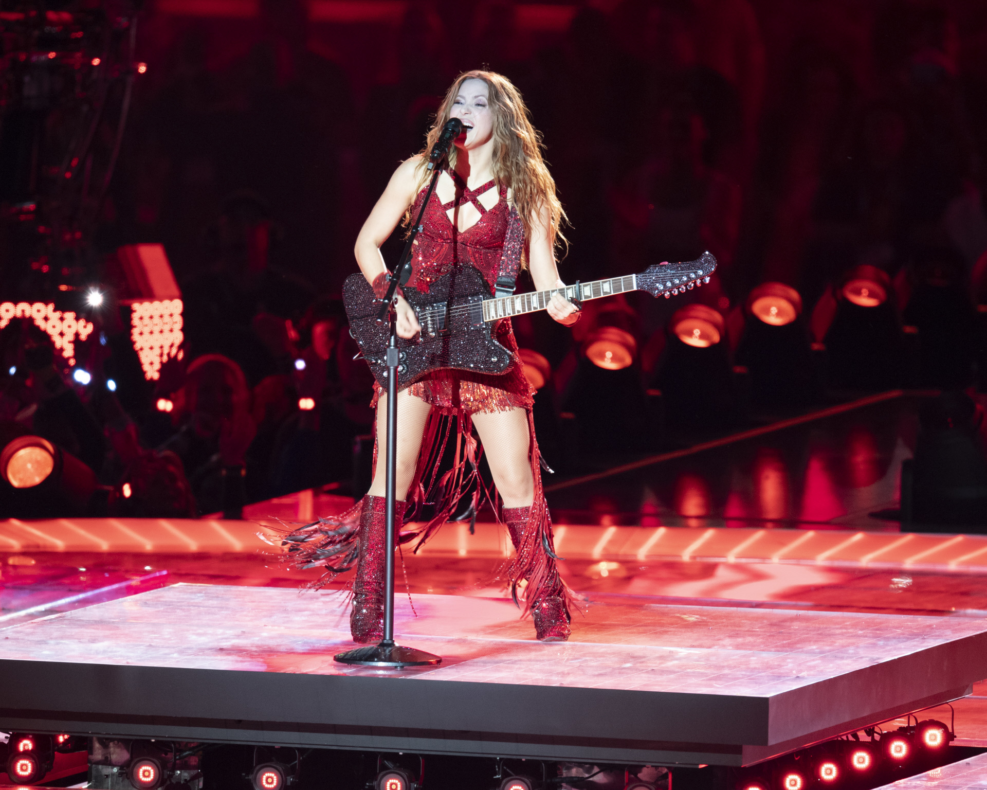 Shakira en su actuación durante el descanso de la Super Bowl 2020.