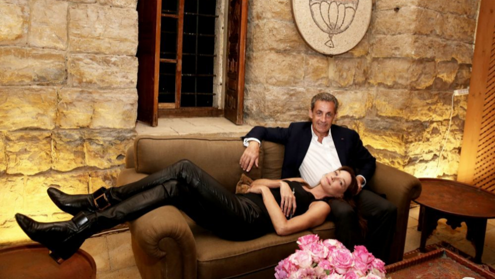 Carla Bruni y Nicolás Sarkozy en Beirut.