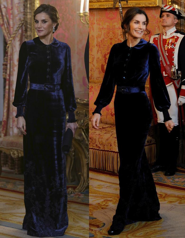 La reina Letizia con un vestido de terciopelo azul de Felipe Varela