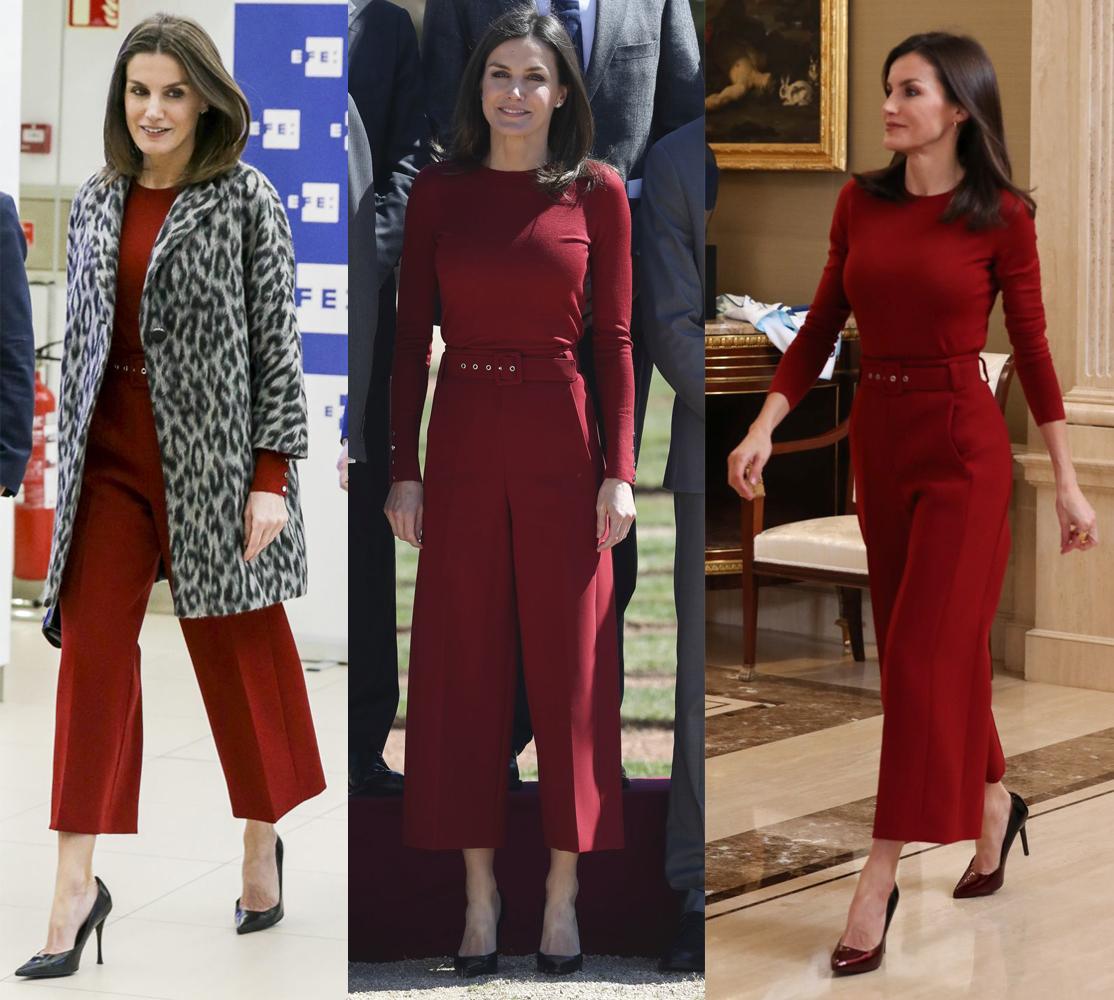 La reina Letizia con un conjunto rojo de Hugo Boss