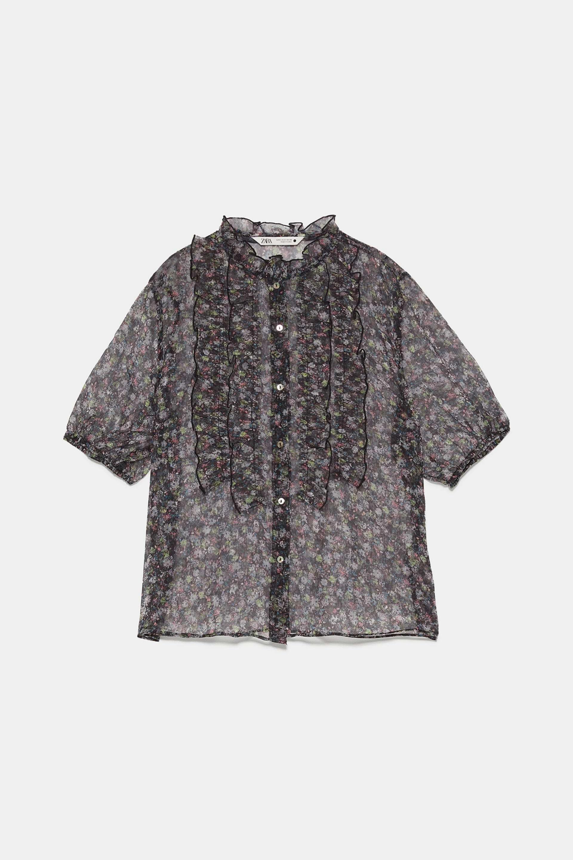 Blusa de flores transparente de Zara (9,99¤)