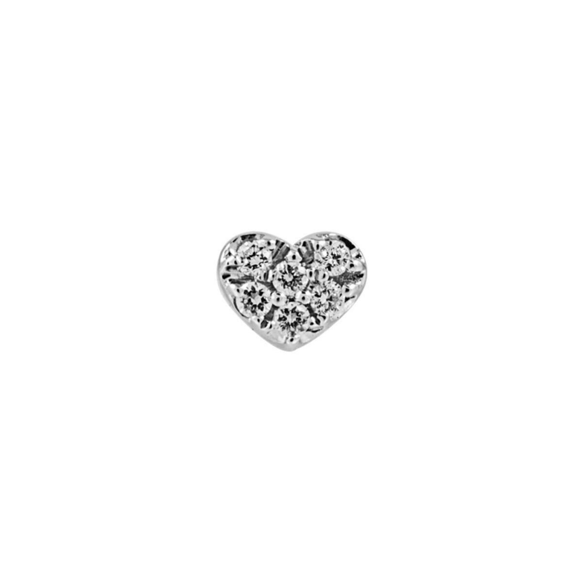 Pendiente en clave minimal con forma de corazón de oro blanco con diamantes de Aristocrazy (240¤)