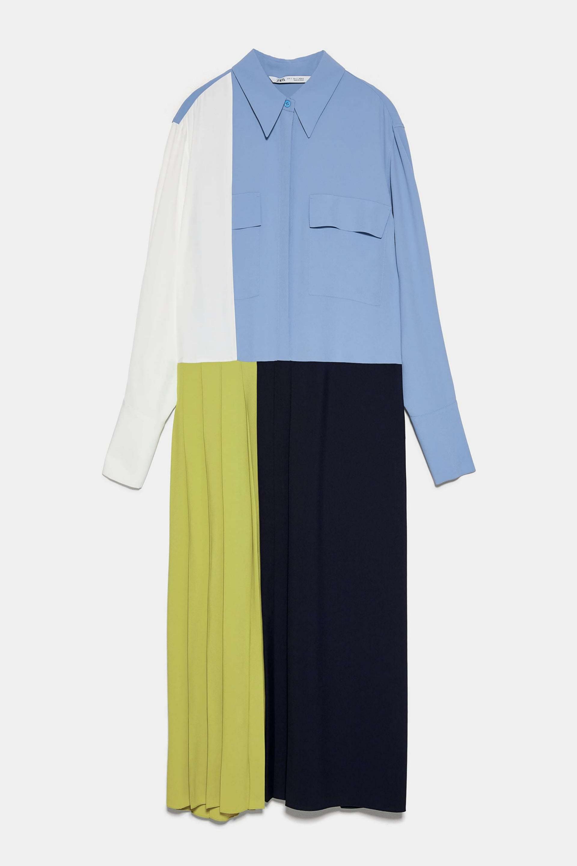 Vestido camisero de patchwork de Zara (69,95¤)