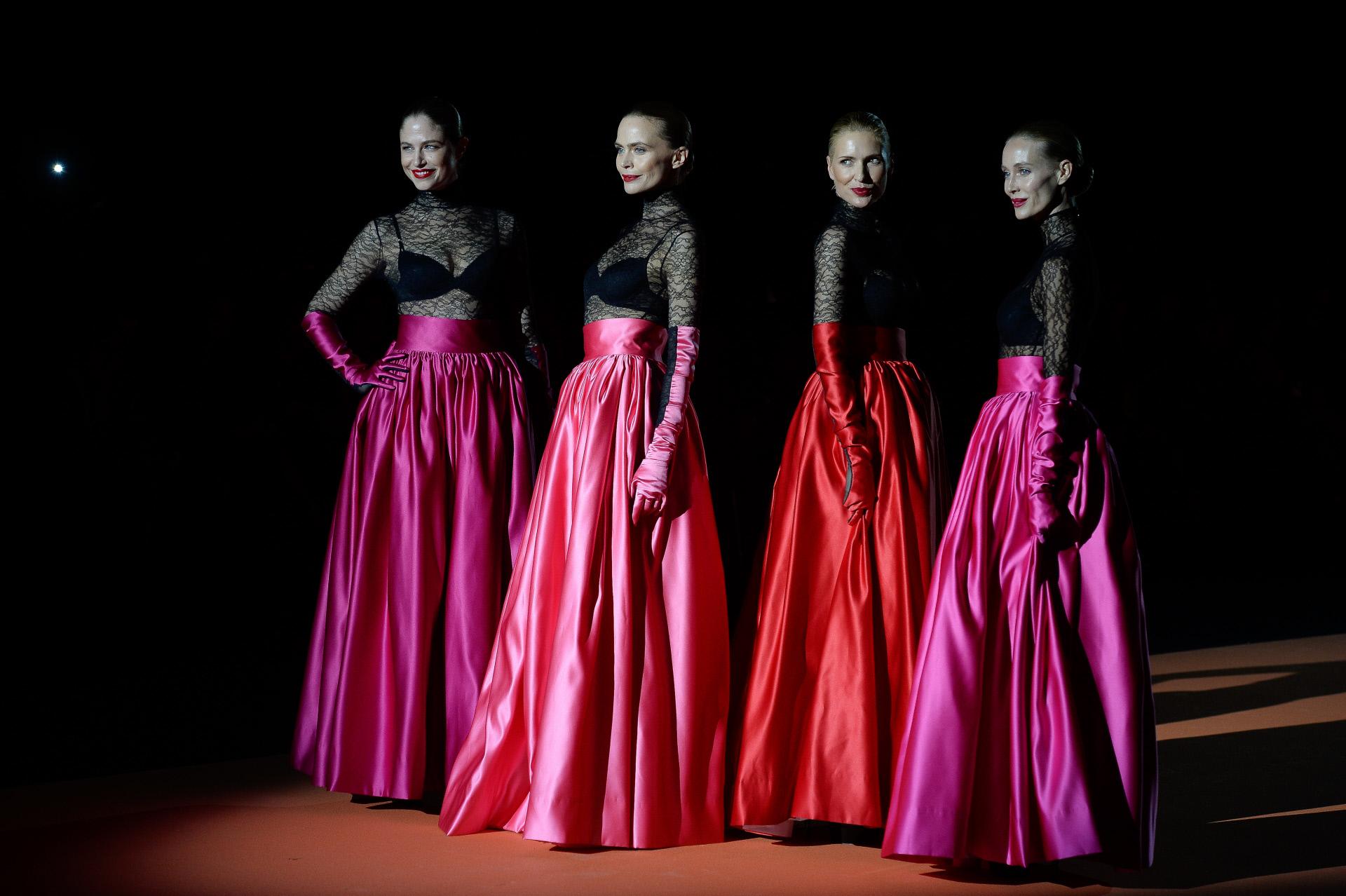 Vanesa Lorenzo, Judit Masco, Verónica Blume y Martina Klein en el desfile de Andrés Sardá Otoño Invierno 2020/21 el pasado mes de enero durante Madrid Fashion Week.