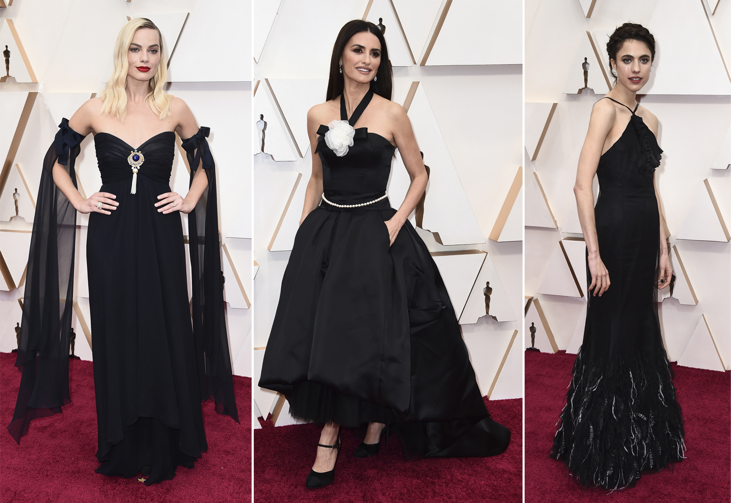 Margot Robbie, Penélope Cruz y Margaret Qualley en la alfombra roja de los Premios Oscar 2020