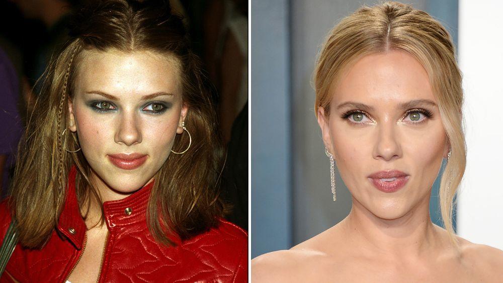 A la izquierda, Scarlett Johansson en 2005 antes de pasar por el bisturí para hacerse algunos retoques estéticos en su nariz y a la derecha, en los Premios Oscar 2020.
