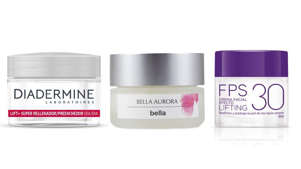 Crema de día Lift de Diadermine; Crema de día de Bella Aurora; Crema facial efecto lifting FPS 30 de Deliplus.