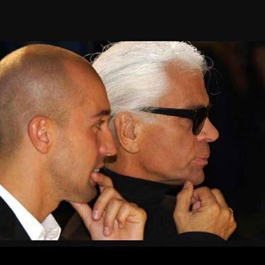 Arnaud Maillard con Karl Lagerfeld.