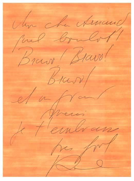 Una nota de agradecimiento de Karl que recibió Arnaud tras un...