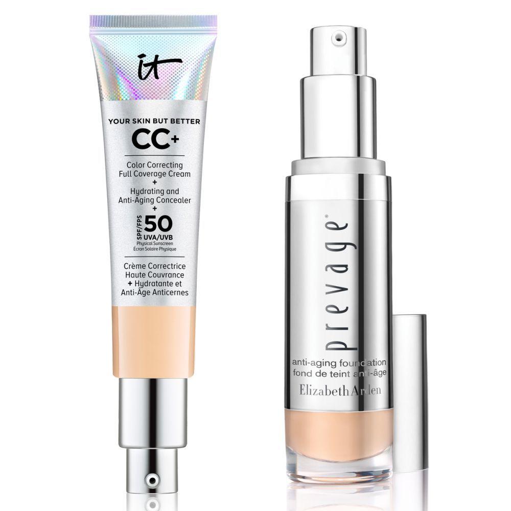 Crema correctora de color de cobertura total   Corrector hidratante antiedad con SPF 50 de It Cosmetics (37 euros) y Prevage Anti-aging Foundation SPF de Elizabeth Arden (60 euros).
