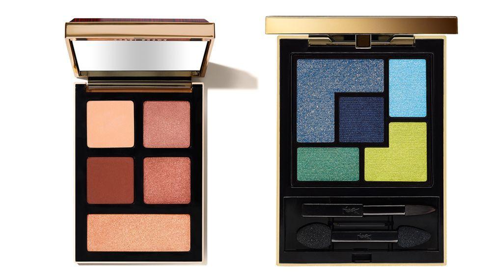 Paleta de sombras Jeweled Rose Eye Palette Luxe & Fortune de Bobbi Brown  (39 euros); Palette Majorelle de YSL (58,50 euros).