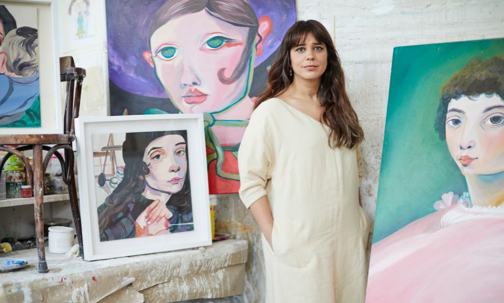 María Herreros en su estudio