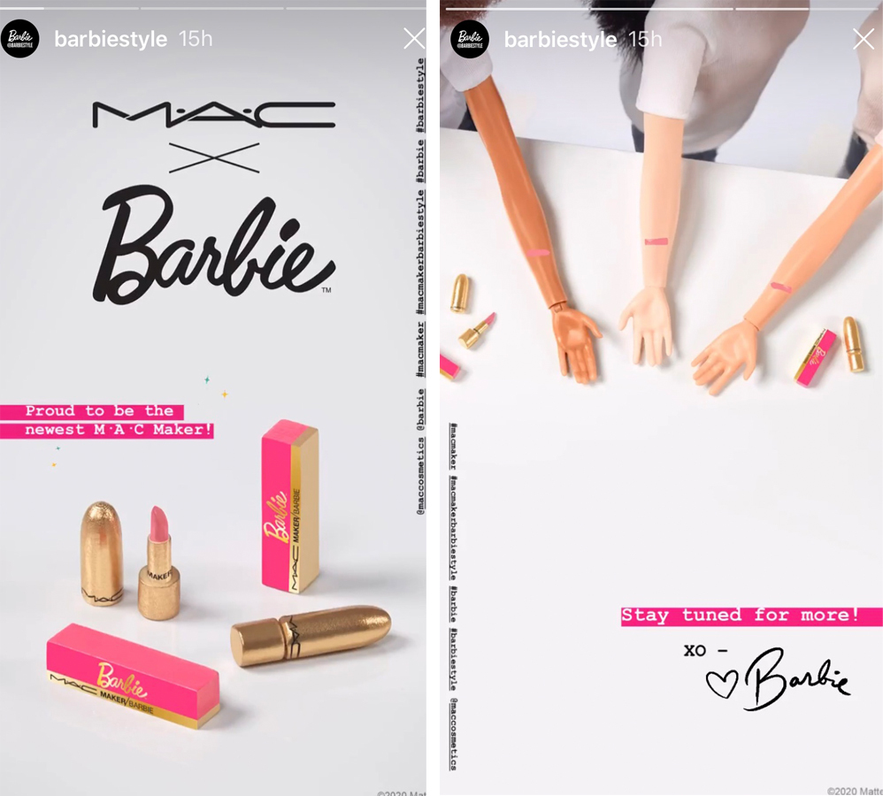 Stories de Barbie anunciando la colaboración con Mac Cosmetics