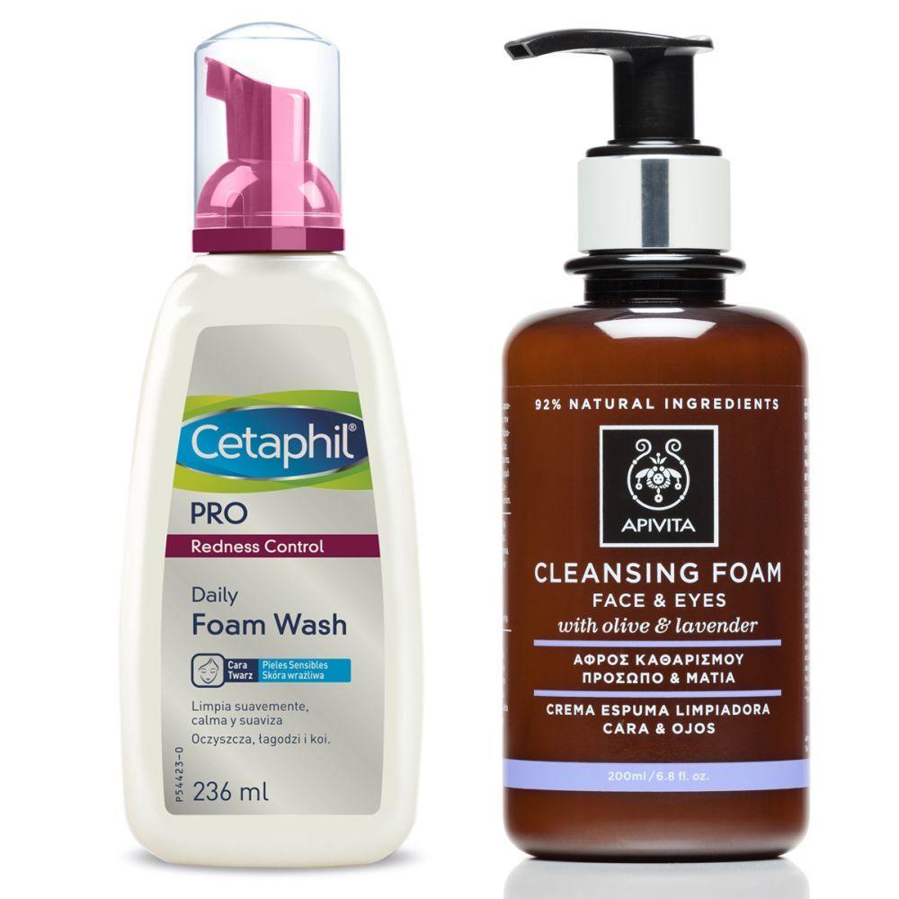 Espuma limpiadora de Cetaphil para pieles con rojeces y crema limpiadora de Apivita.