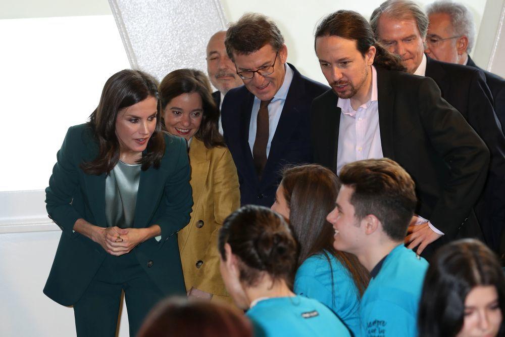 Doña Letizia asiste, junto a Pablo Iglesias y Alberto Nuñez Feijóo, al acto de proclamación del ganador del Premio Fundación Princesa de Girona 2020