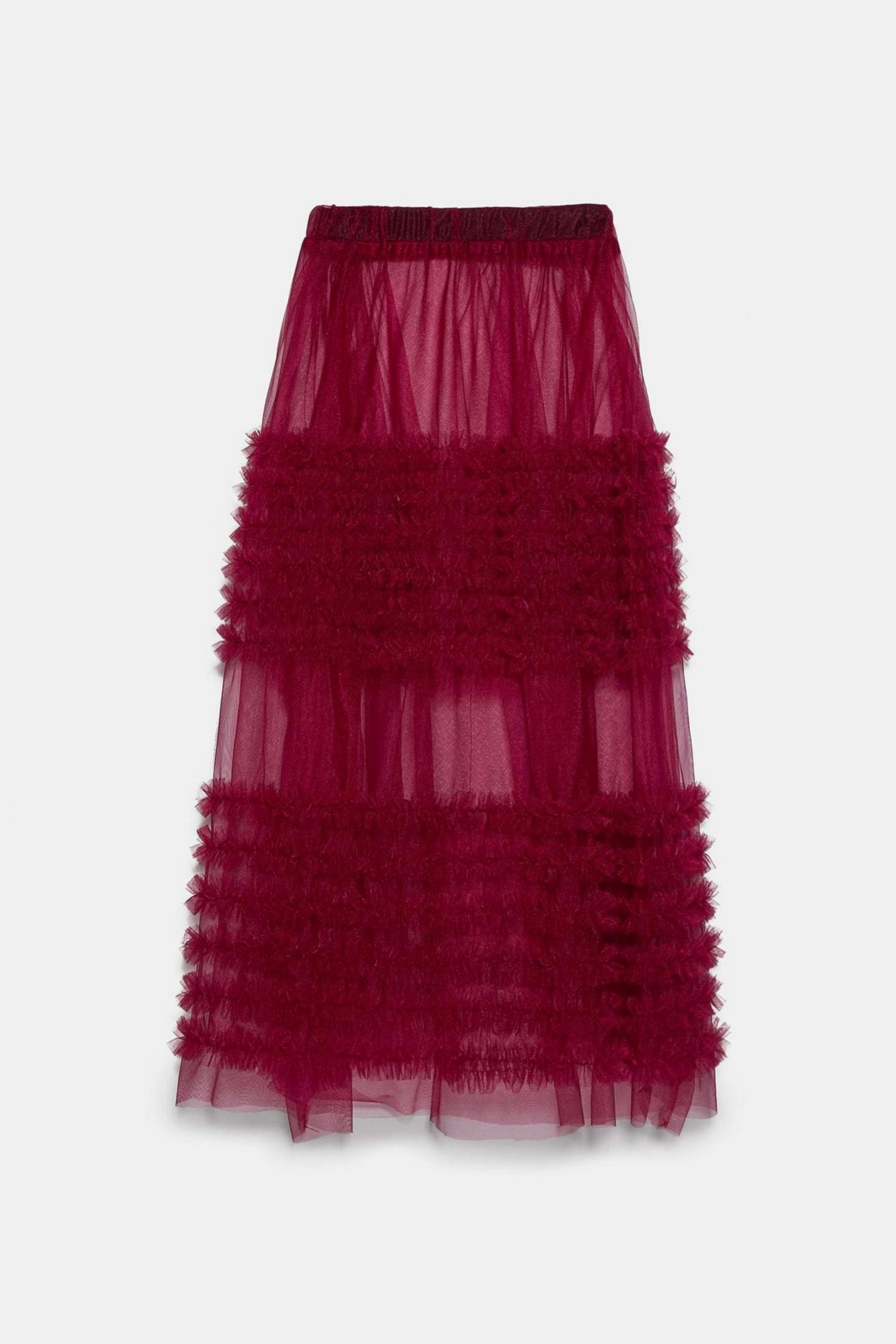 Falda midi de tul con transparencias de Zara (25,95¤)