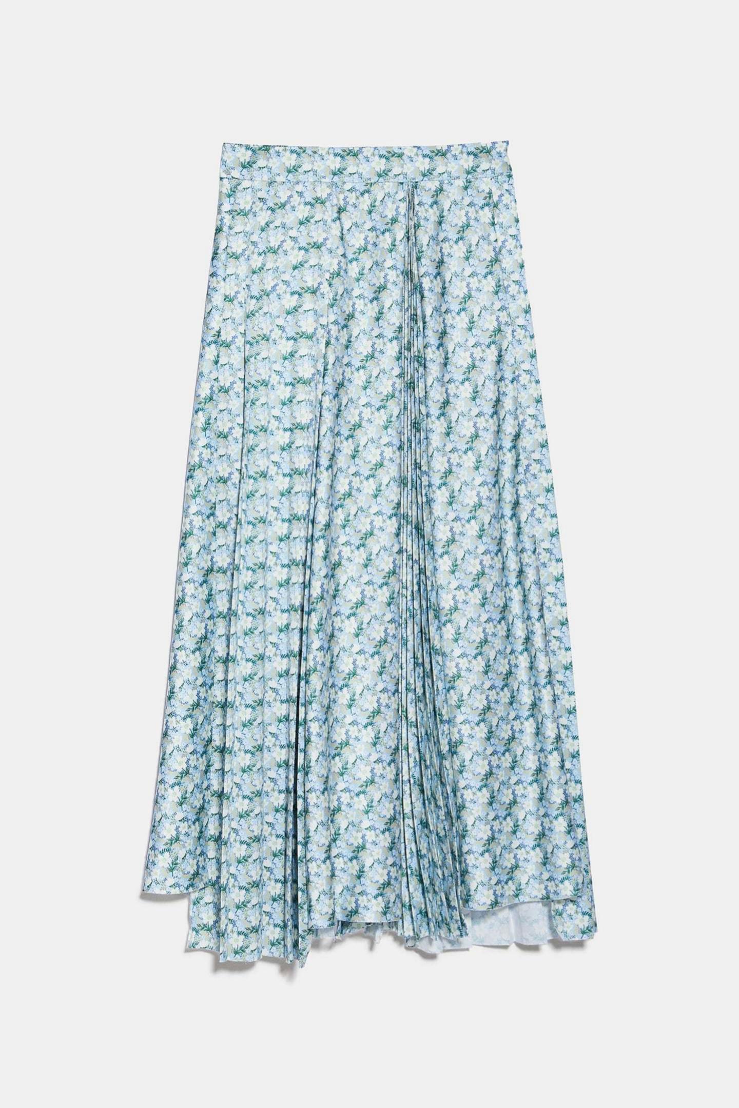 Falda plisada asimétrica estampada de Zara (49,95¤)