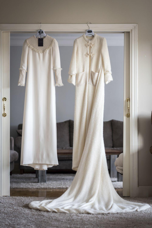 Vestido de franela de lana y abrigo de punto de lana y seda, de Inés Martín Alcalde.