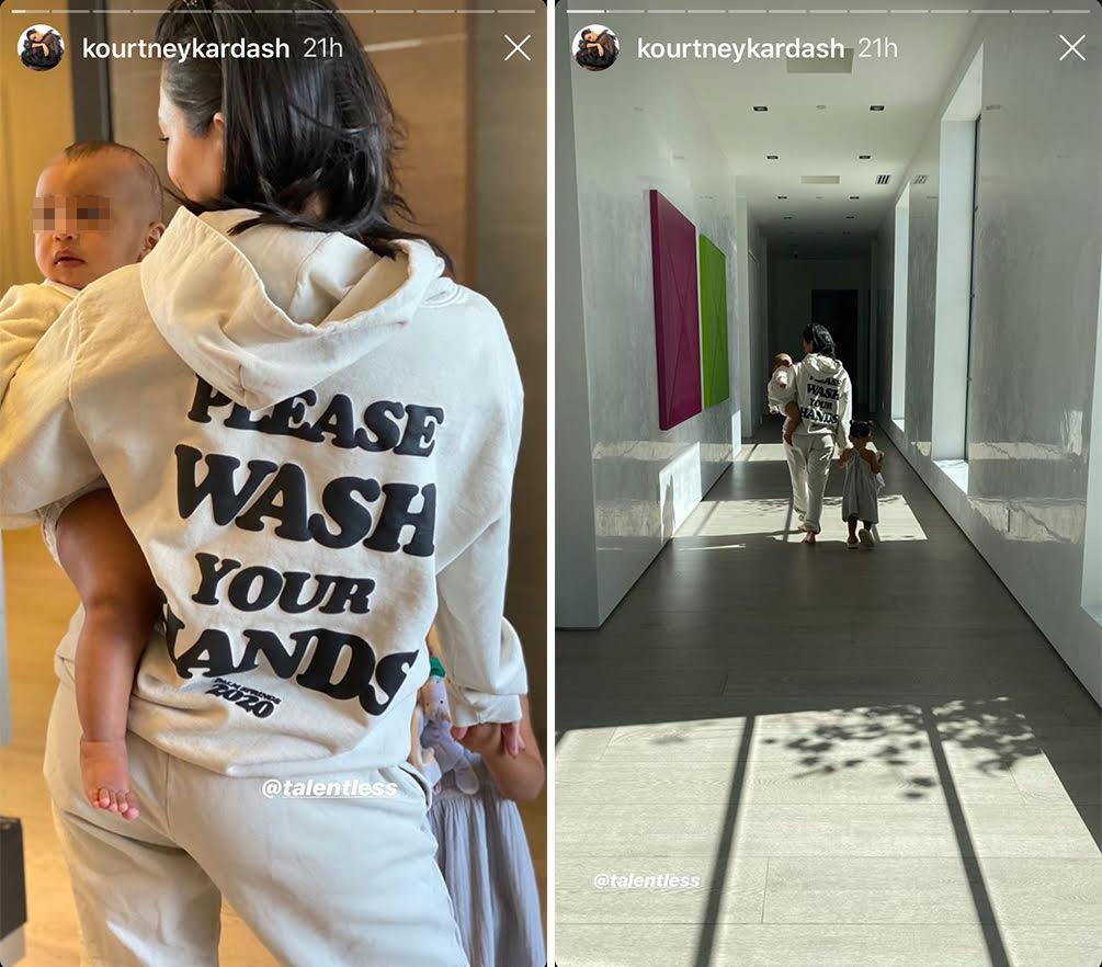 Kourtney Kardashian con sus hijos y sobrinos luciendo la sudadera de Talentless