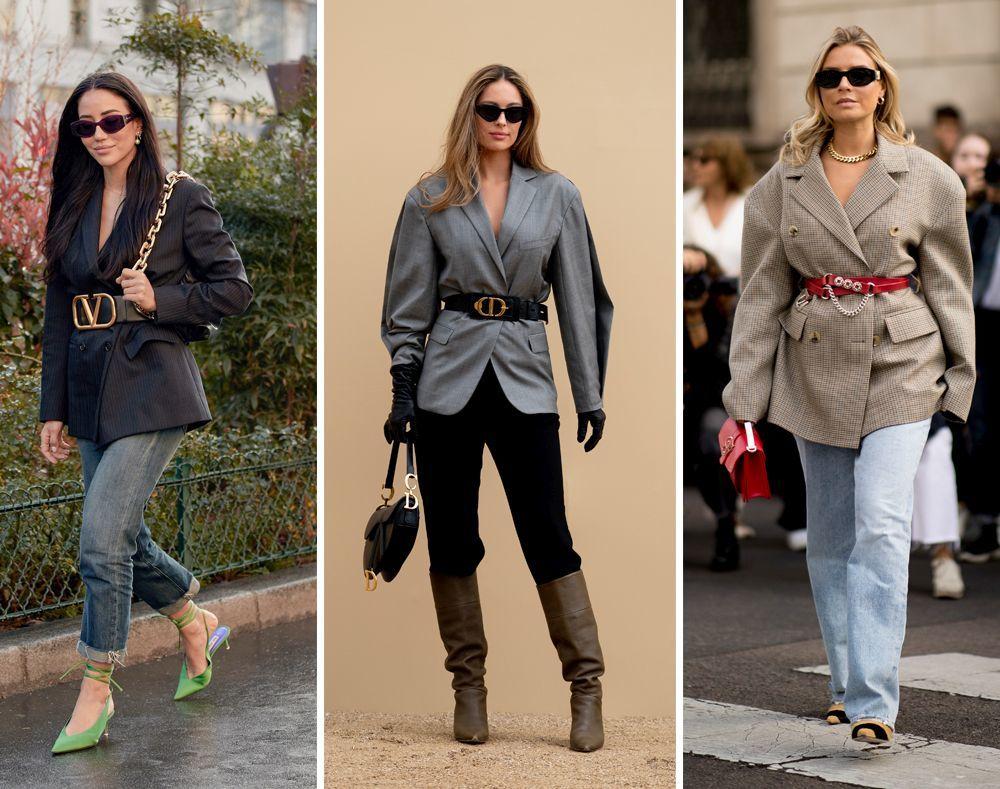 La blazer + cinturón, una de las tendencias más vistas del street style.