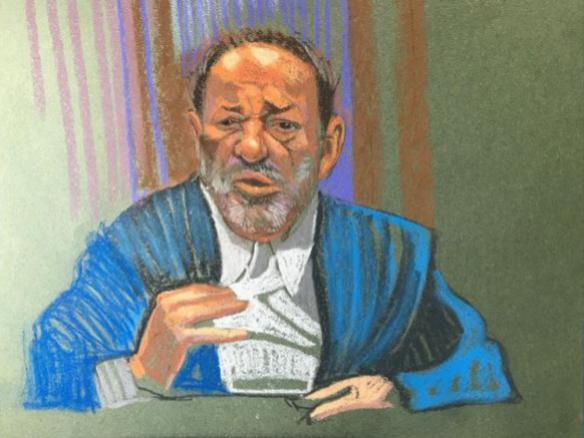 Sketch dibujado durante la lectura del veredicto de Harvey Weinstein.