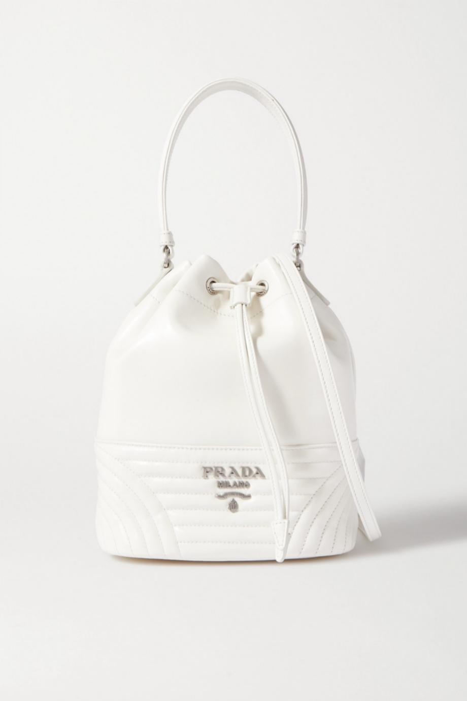 Bolsito saco de piel en color blanco de Prada (c.p.v)