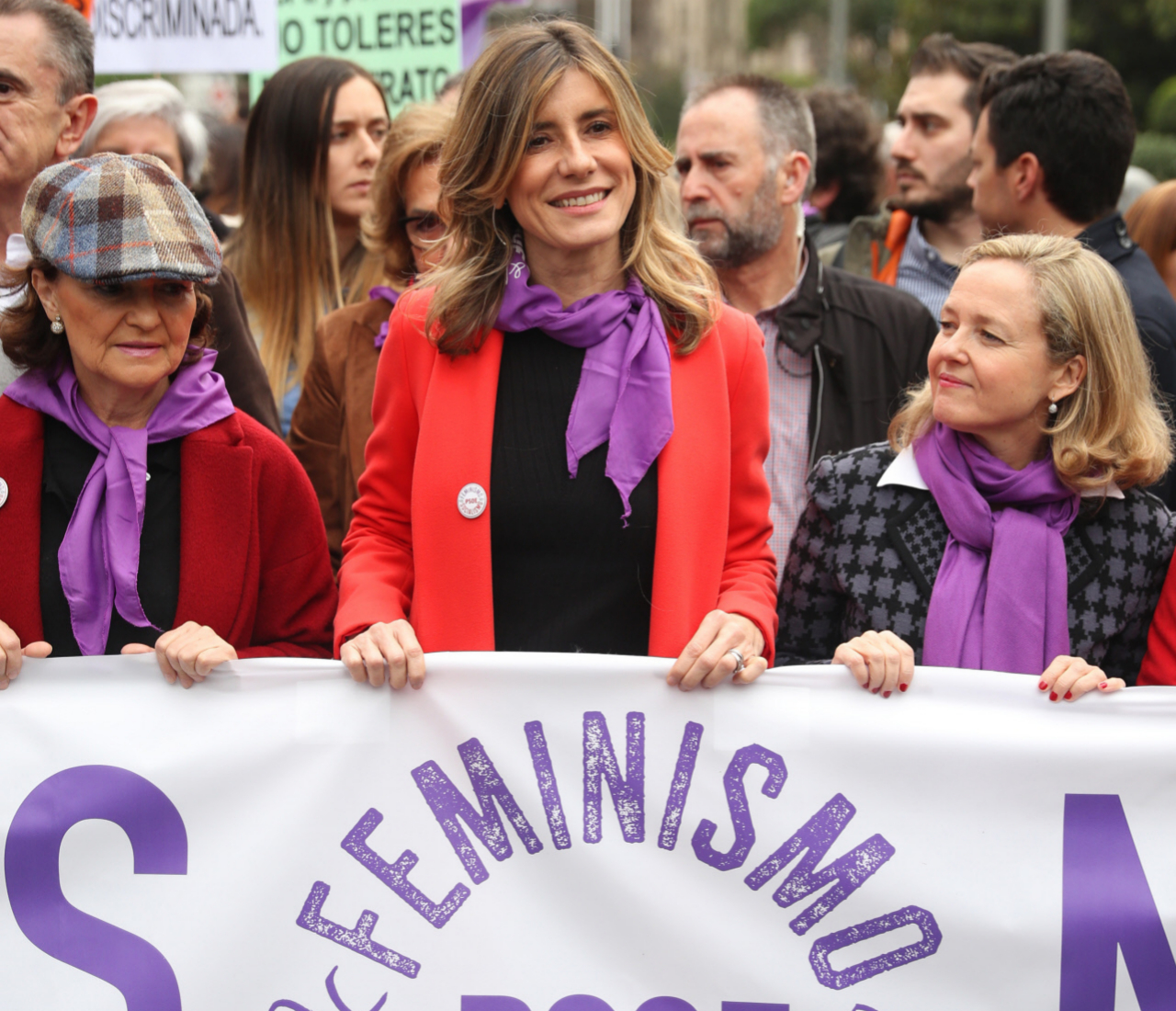 Begoña Gómez, durante la manifestación del pasado 8 de Marzo en Madrid junto a Carmen Calvo y Nadia Calviño.