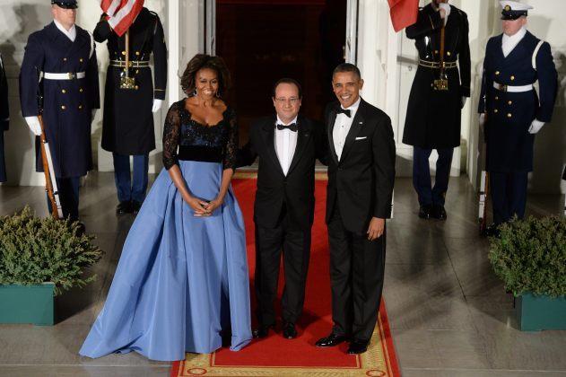 Michelle Obama en una cena de estado.