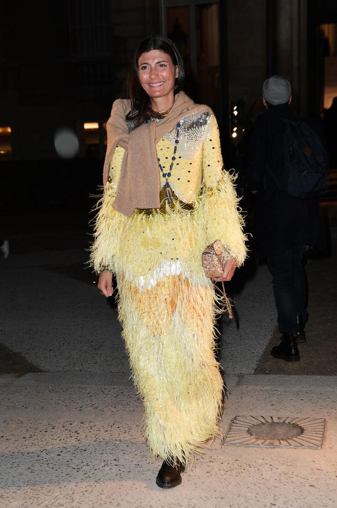 Giovanna yendo al desfile de Valentino en la Alta Costura de París en enero de 2020.