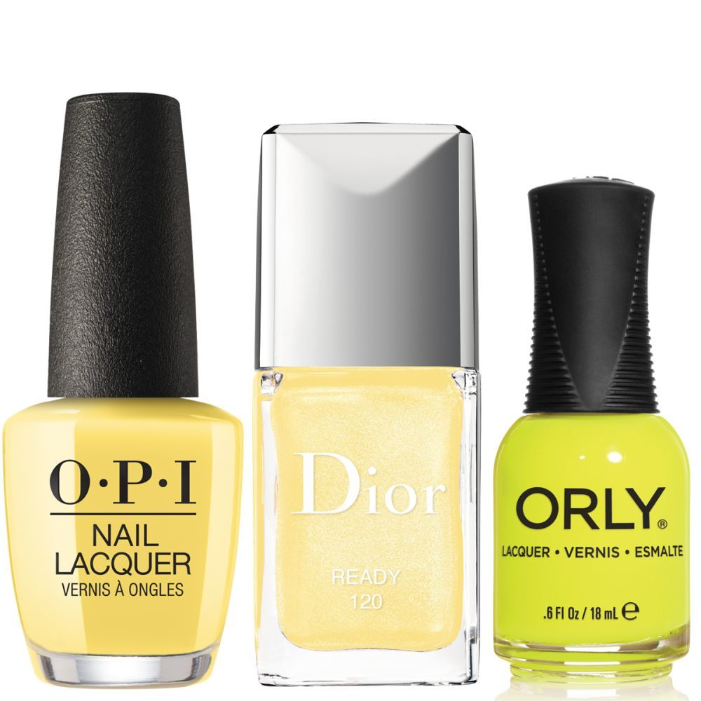Esmalte de uñas Dont Tell a Sol de OPI (16,50 euros); Laca de uñas amarilla 120 de Dior (a partir de junio de 2020); Esmalte de uñas amarillo neón Glowstick de Orly (13 euros).