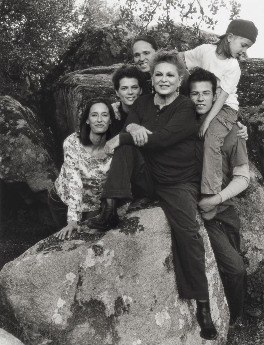 Paola Dominguín, Lucía Dominguín, Lucía Bosé, Bimba Bosé, Olfo Bosé y Palito en Rocamador.