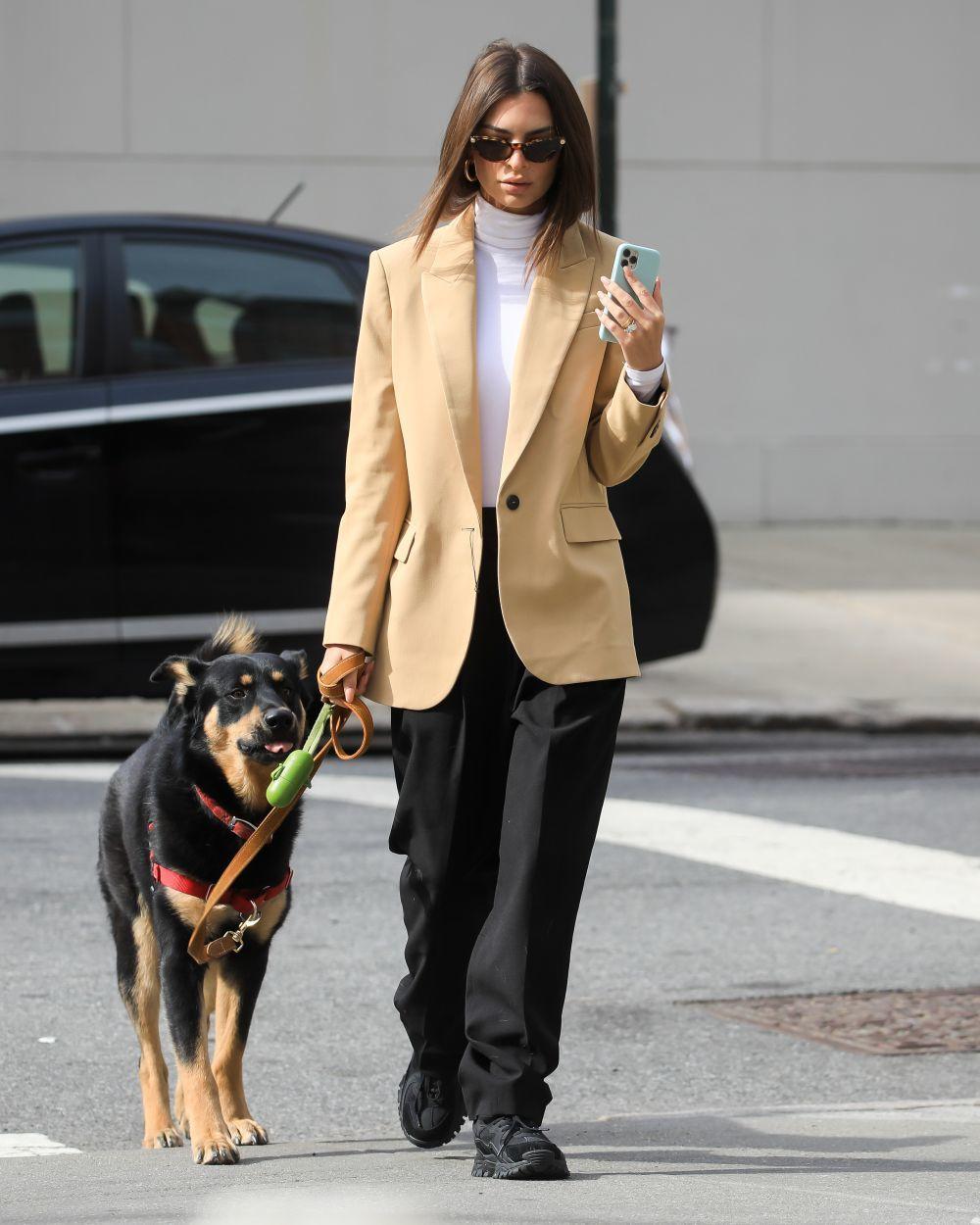 Emily Ratajkowski paseando a su mascota.