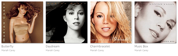 Algunos discos de Mariah Carey.