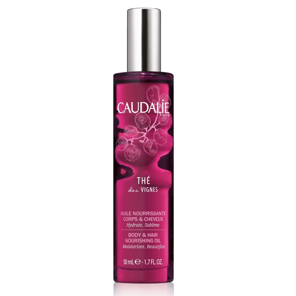 Aceite seco nutritivo perfumado para cuerpo y cabello Thé des Vignes de Caudalie (18,50 euros) con notas de almizcle blanco, flor de neroli, jengibre, hidrata, nutre y reafirma la piel.