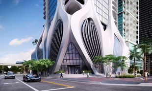 Fachada del edificio de Zaha Hadid en Miami.