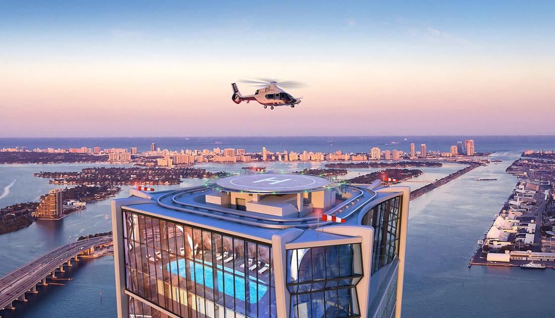 El edificio, de más de 60 pisos, tiene helipuerto propio.