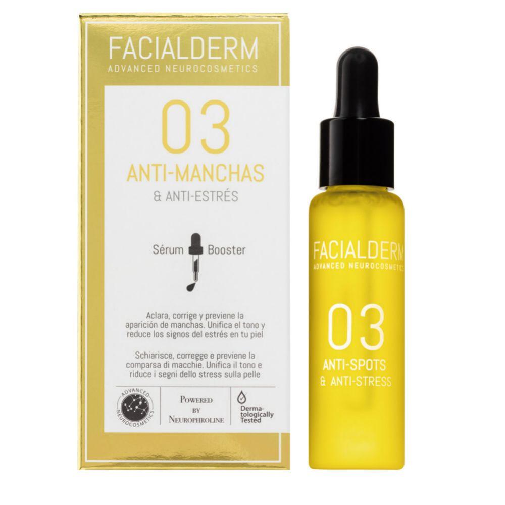 Facialderm Antimanchas, con vitamina C y un activo vegetal despigmentante (29,95 euros).