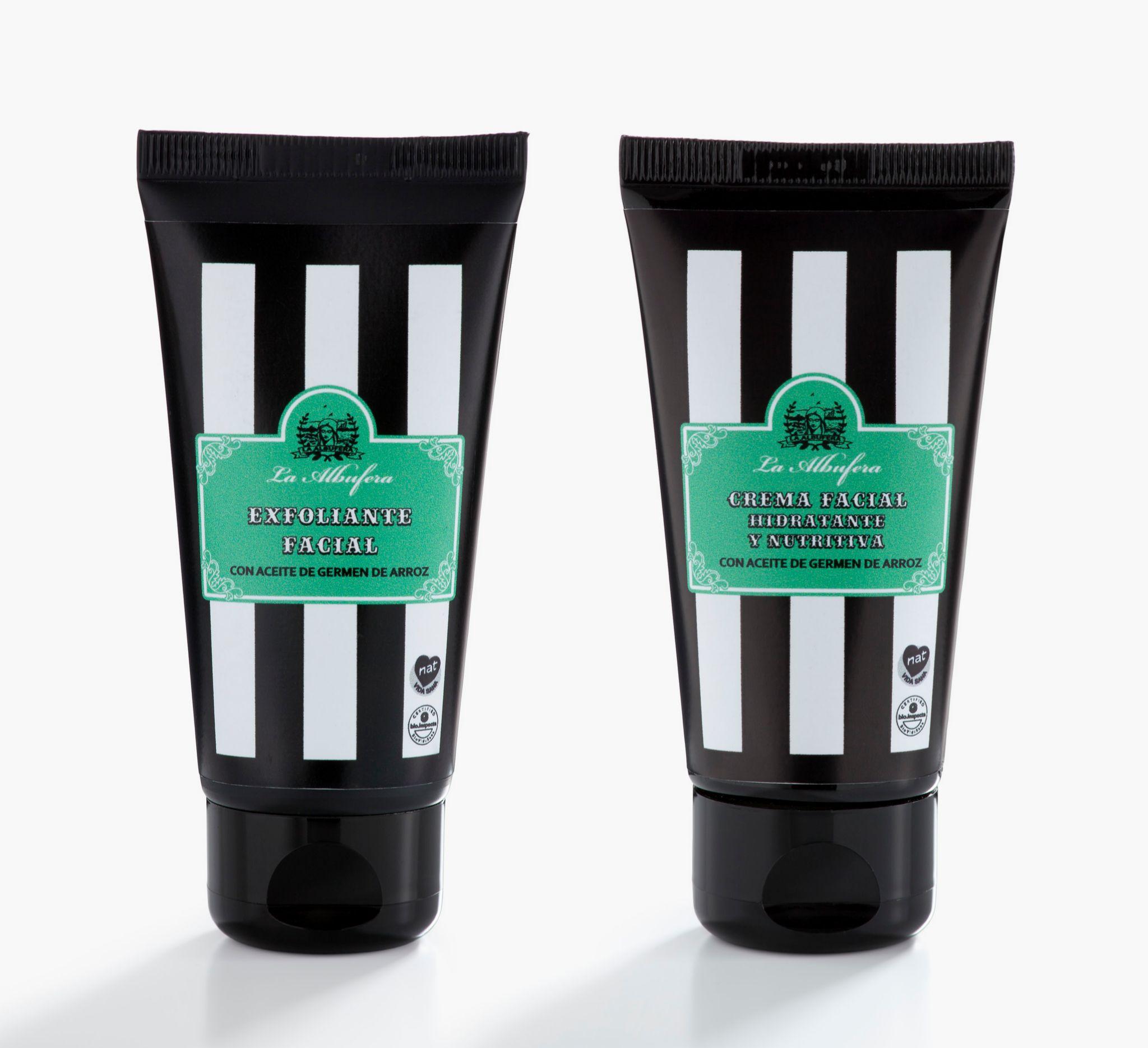 Crema exfoliante con partículas de bambú y crema hidratante y nutritiva, La Albufera (pack, 31,40 euros).