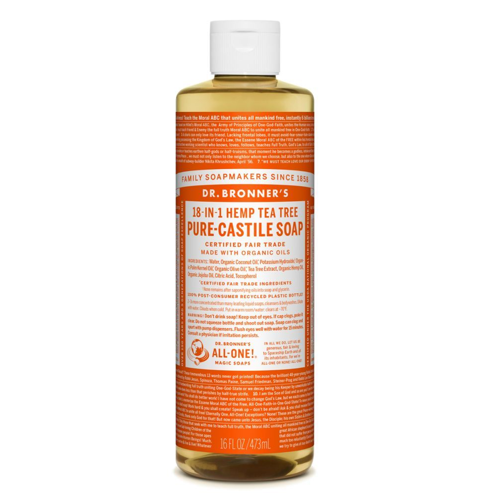 Jabón líquido de Castilla 18 en 1 con árbol de té de Dr. Bronners.