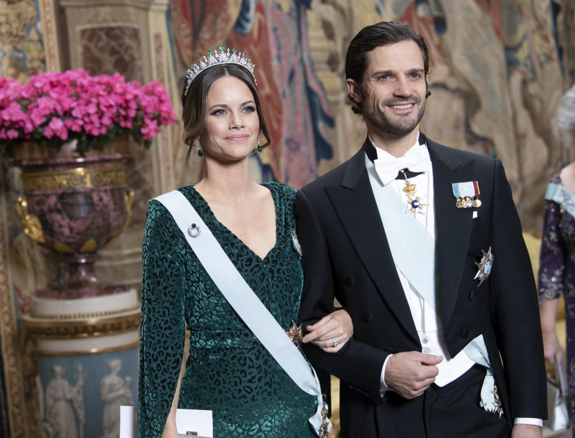 Carlos Felipe y Sofía en una cena de gala en el palacio de Estocolmo.