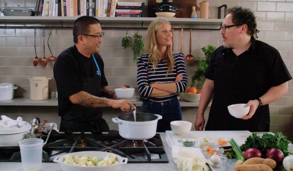 Gwyneth Paltrow con Jon Favreau y Roy Choi en The Chef Show.